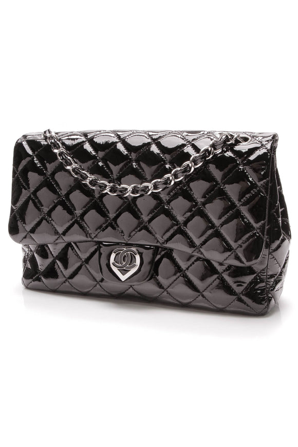 Chanel Jumbo Heart Flap Bag Black Patent