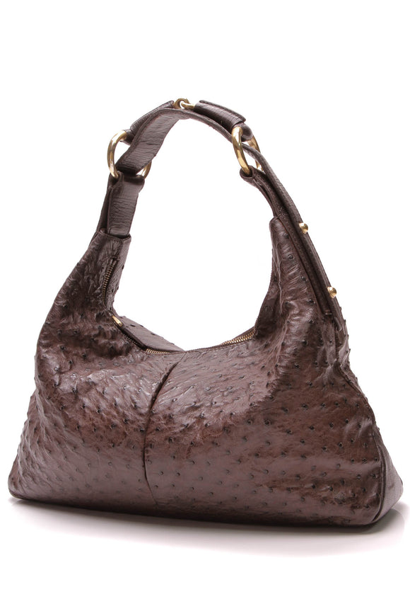 Gucci Medium Horsebit Hobo Bag Ostrich Brown