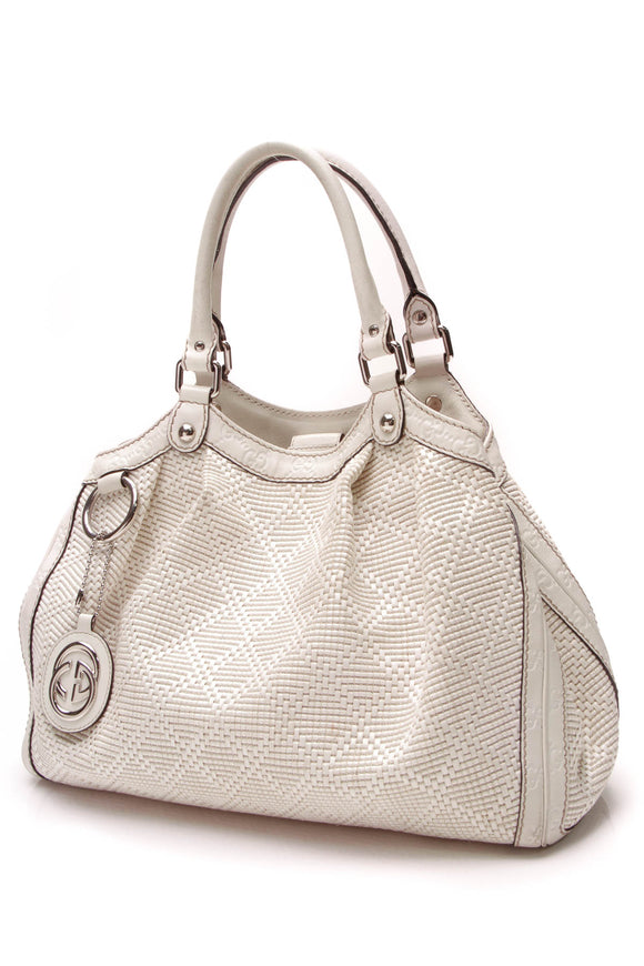 Gucci Diamante Medium Sukey Tote Bag White Woven Raffia