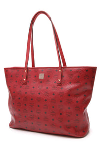 MCM Anya Large Zip Tote Bag Red Visetos Canvas