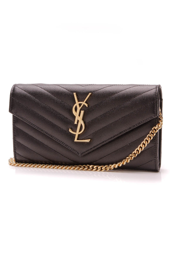 Saint Laurent Chain Wallet Black Monogram Matelasse