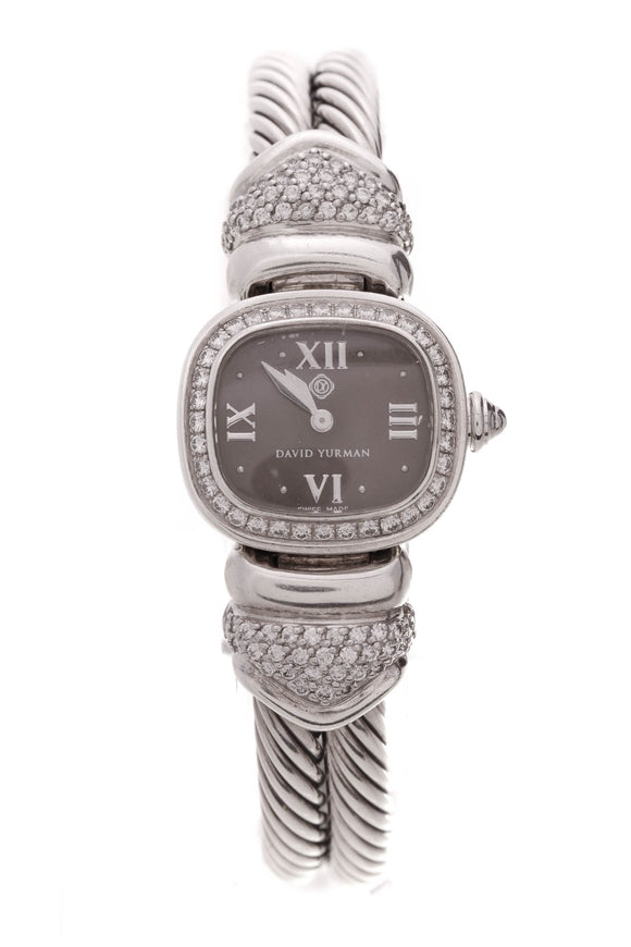 David Yurman Diamond Cable Bangle Watch Silver