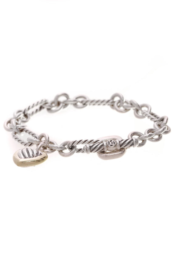 David Yurman Cable Heart Charm Toggle Bracelet Silver Gold