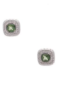 John Hardy Green Topaz Classic Chain Earrings Silver