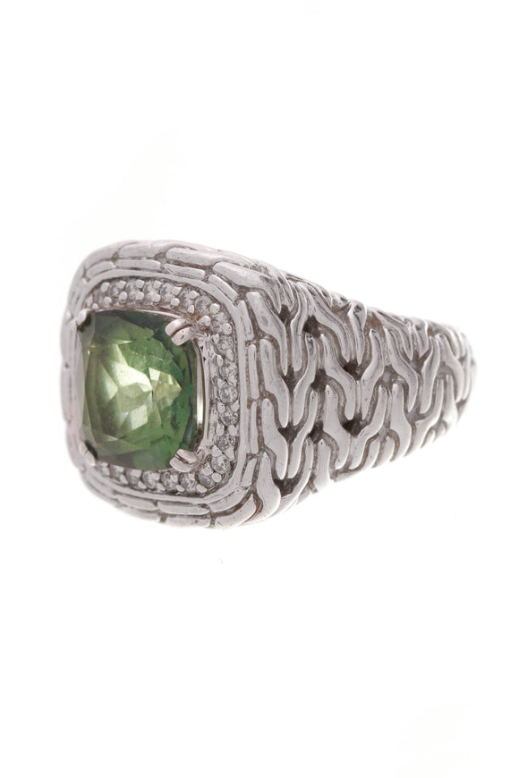 John Hardy Green Topaz Classic Chain Ring Silver Size 5.5