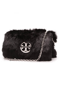 Tory Burch Mini Shoulder Bag Black Faux Fur