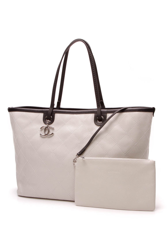 Chanel Large Shopping Fever Tote Bag White Caviar