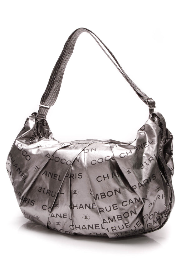 Chanel Unlimited Ligne Shoulder Bag Silver Metallic Coated Canvas