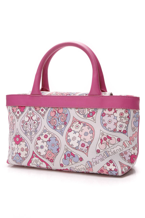 Emilio Pucci Top Handle Bag Printed Canvas