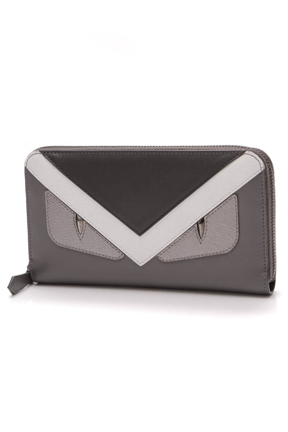 Fendi Monster Eyes Zip Around Wallet Gray