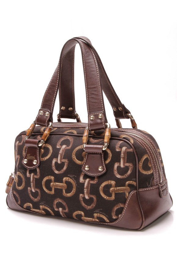 Gucci Bamboo Mini Boston Bag Horsebit Print Canvas Brown Black