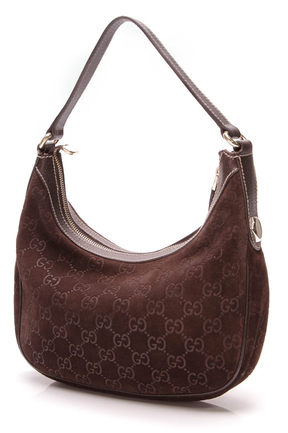 Gucci Small Hobo Bag Guccissima Suede Brown
