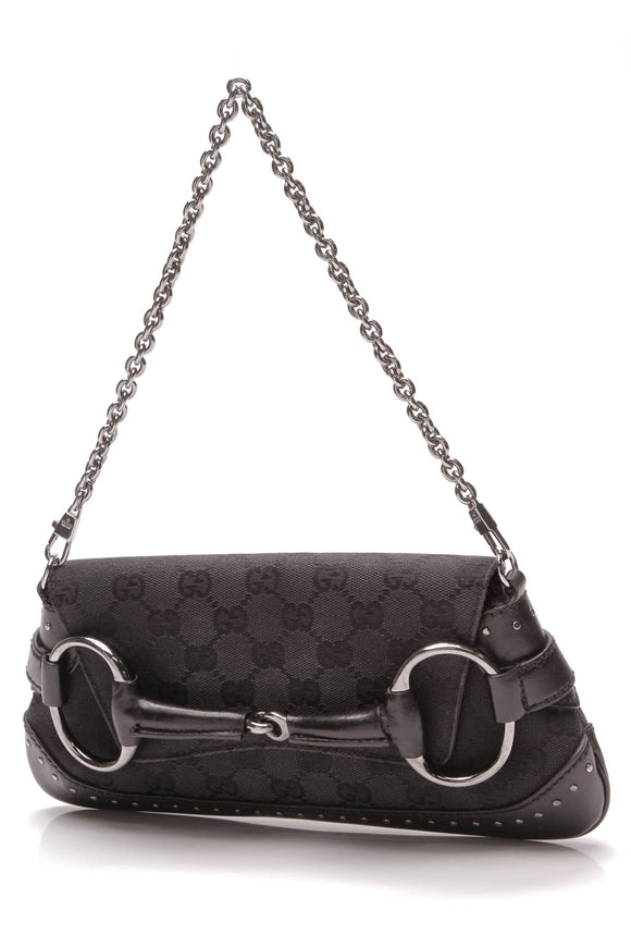 Gucci Horsebit Chain Clutch Bag Black Signature canvas