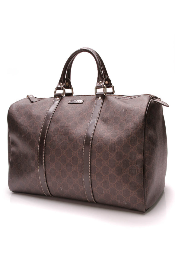 Gucci Medium Joy Boston Bag Brown Coated Canvas