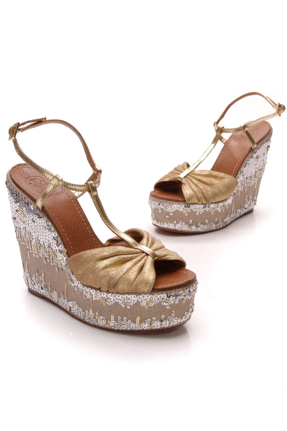 Tory Burch Percy 2 Sequin Platform Wedges Gold Size 7