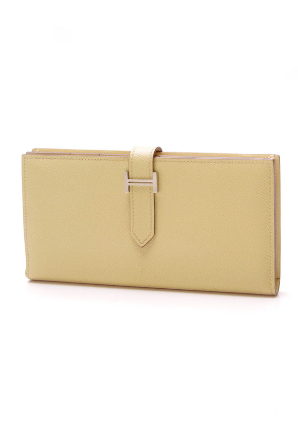 Hermes Bearn Wallet Jaune Poussin Epsom Leather Yellow