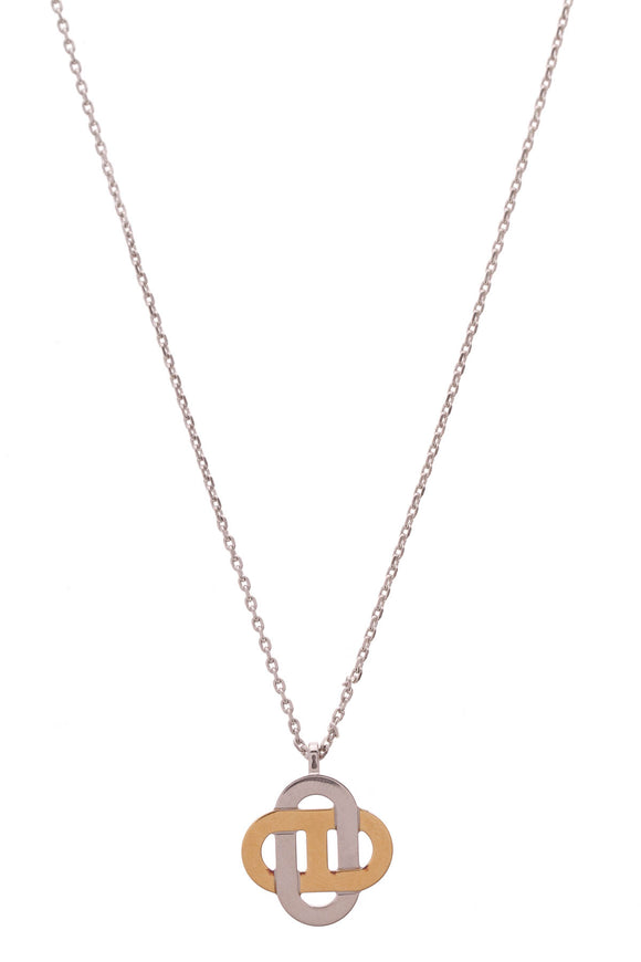 Hermes Isatis Pendant Necklace Silver Gold