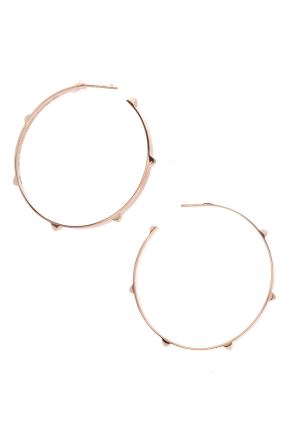 Hermes Mini Clous Hoop Earrings Rose Gold