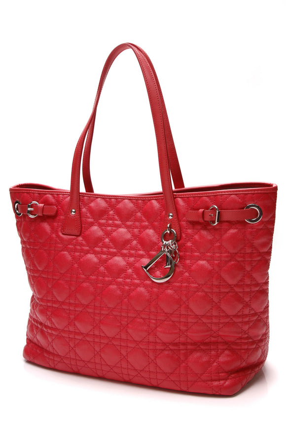 Christian Dior Cannage Medium Panarea Tote Bag Coated Canvas Red