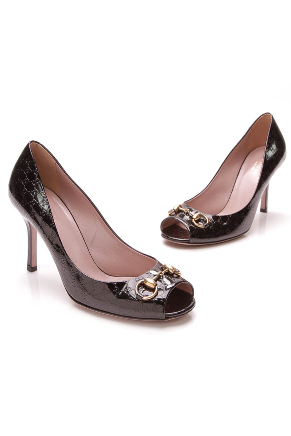 Gucci Horsebit Pumps Black GG Patent Leather Size 38.5