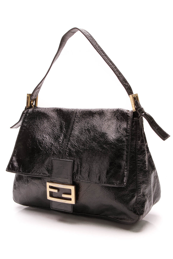 Fendi Large Baguette Bag Crinkle Patent Leather Black