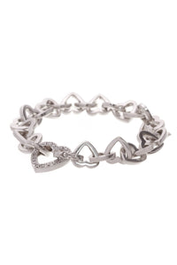 Diamond Heart Link Bracelet White Gold