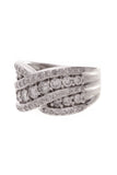 Diamond X Band Ring White Gold Size 5.75