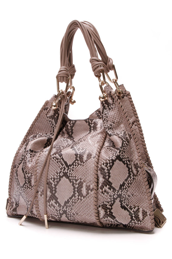 Stuart Weitzman Coquette Bag Python Embossed Leather Tan