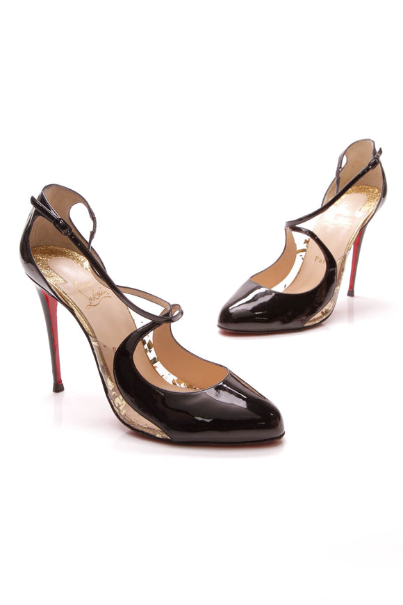 Christian Louboutin Crossettinetta 100 Pumps Black Gold Size 41