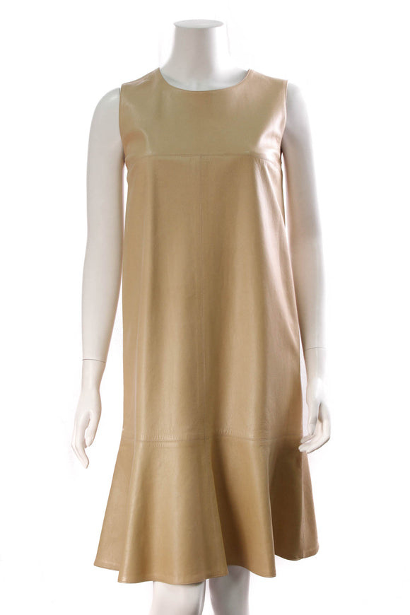 Chanel Lambskin Shift Dress Beige Size 42