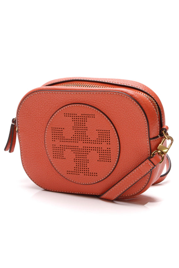 Tory Burch Perforated Round Logo Crossbody Bag Orange