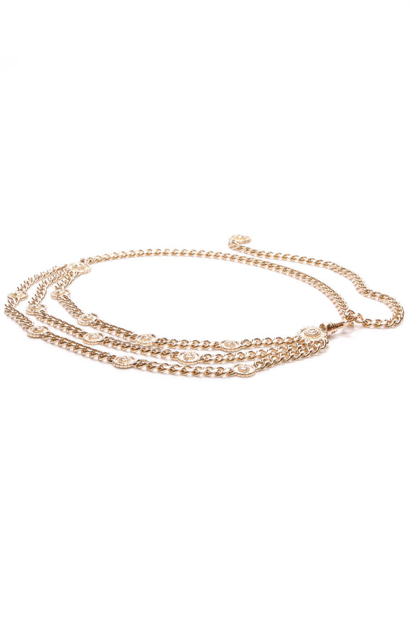 St. John Triple Curb Chain Belt Gold
