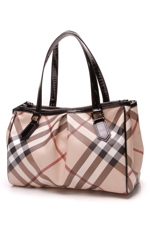 Burberry Melbury Medium Tote Bag Supernova Check Beige