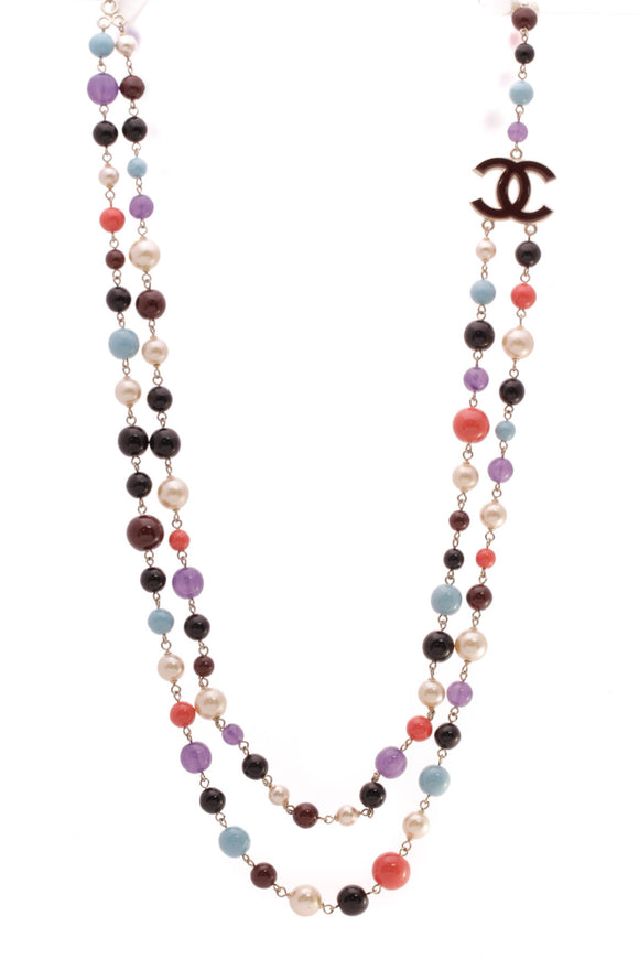Chanel CC Double Strand Bead Necklace Multicolor