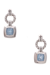 David Yurman Blue Topaz Renaissance Earrings Silver