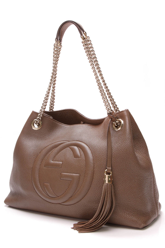 Gucci Soho Chain Tote Bag Taupe
