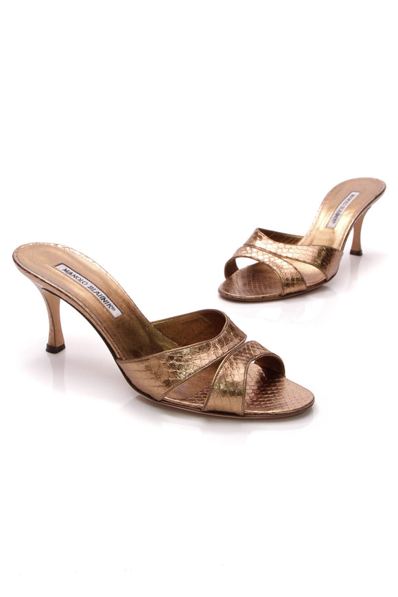 Manolo Blahnik Metallic Sandals Bronze Size 38.5