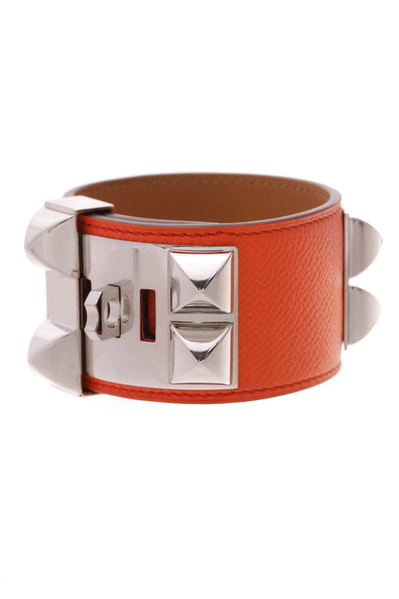 Hermes Collier de Chien Bracelet Orange Epsom