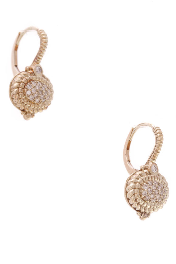 Judith Ripka La Petite Oval Pave Diamond Earrings Yellow Gold