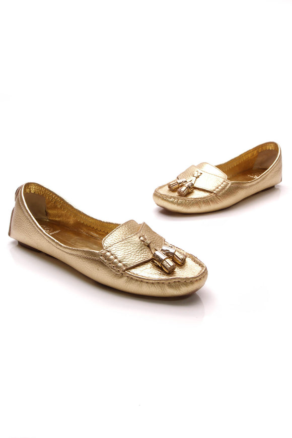Tory Burch Lawrence Loafers Metallic Gold Size 10.5