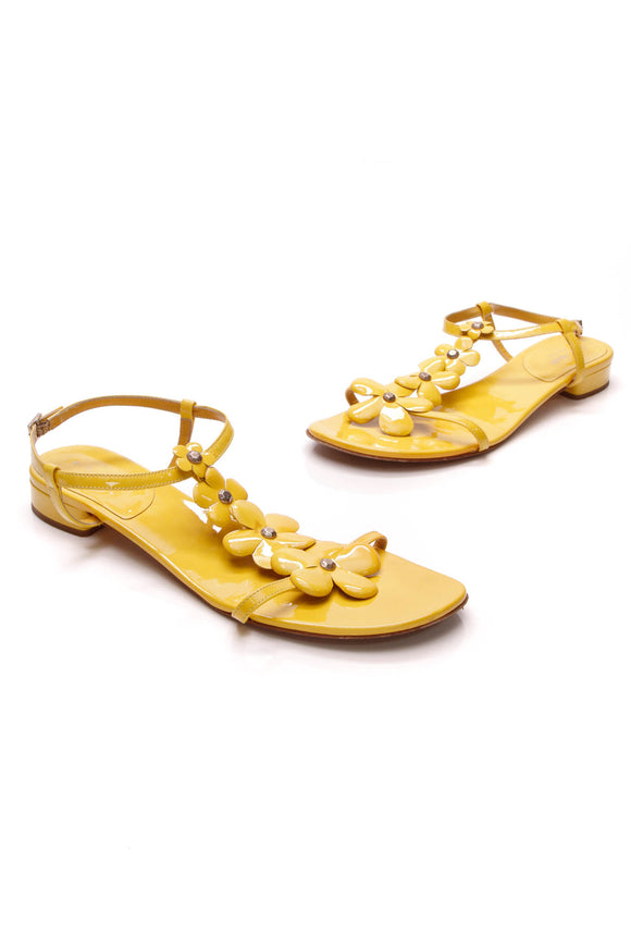 Tory Burch Flower T-Strap Sandals Yellow Size 10