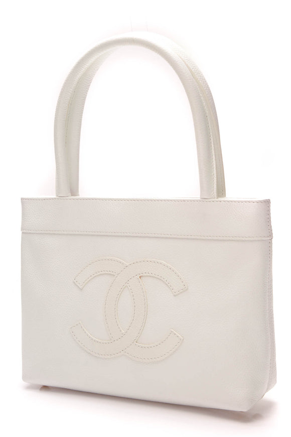 Chanel CC Mini Tote Bag White Caviar