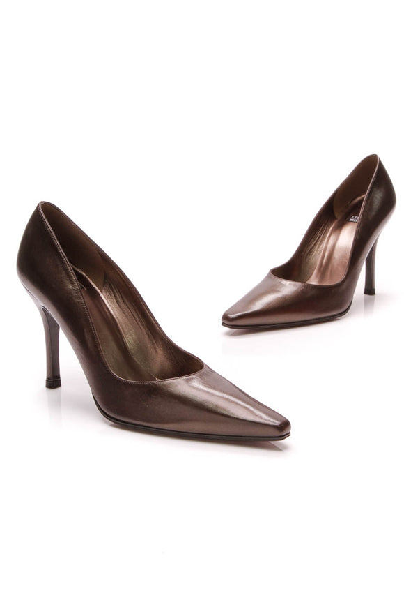 Stuart Weitzman Girlie Pumps Shimmer Brown Leather Size 8
