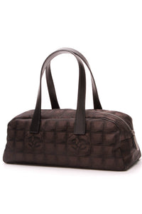 Chanel Travel Ligne Bowler Bag Nylon Brown Black