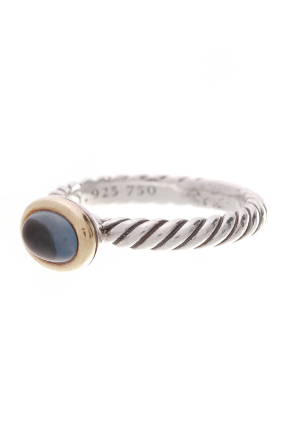 David Yurman Blue Topaz Cable Stacking Ring Silver Gold Size 6