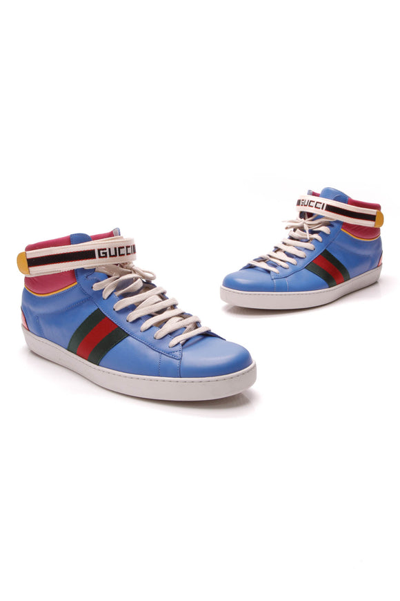 Gucci Stripe Ace High-Top Men's Sneakers Blue Size 14