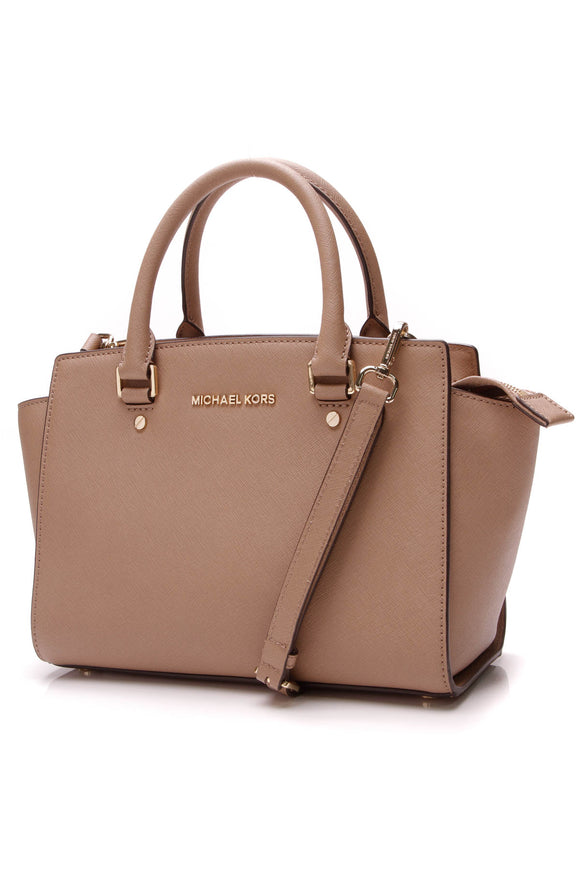 Michael Kors Selma Satchel Bag Taupe