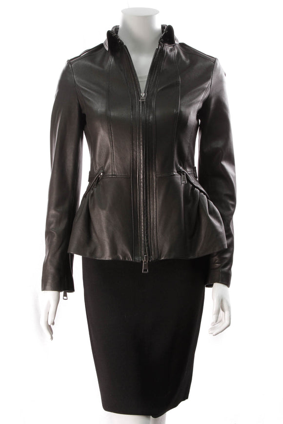 Burberry Lambskin Moto Jacket Black Size 6