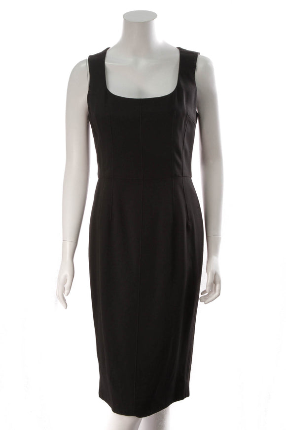 Dolce and Gabbana Midi Sheath Dress Black Size 46