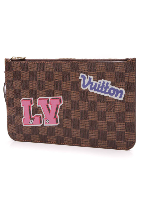 Louis Vuitton Patches Neverfull Pouch Wristlet Damier Ebene Brown